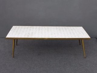 Vintage Mid Century Modern White Tile Mosaic Style Top Brass Legs Coffee Table photo