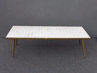 Vintage Mid Century Modern White Tile Mosaic Style Top Brass Legs Coffee Table photo