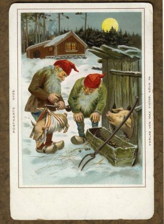 Bismar Scale W Elves Weighing Piglet 1905 Postcard Years Elf Pig Pen Germany photo