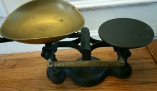 Antique Vendors No.  3 Black Cast Iron Scale Brass Scoop Pan Primitve photo