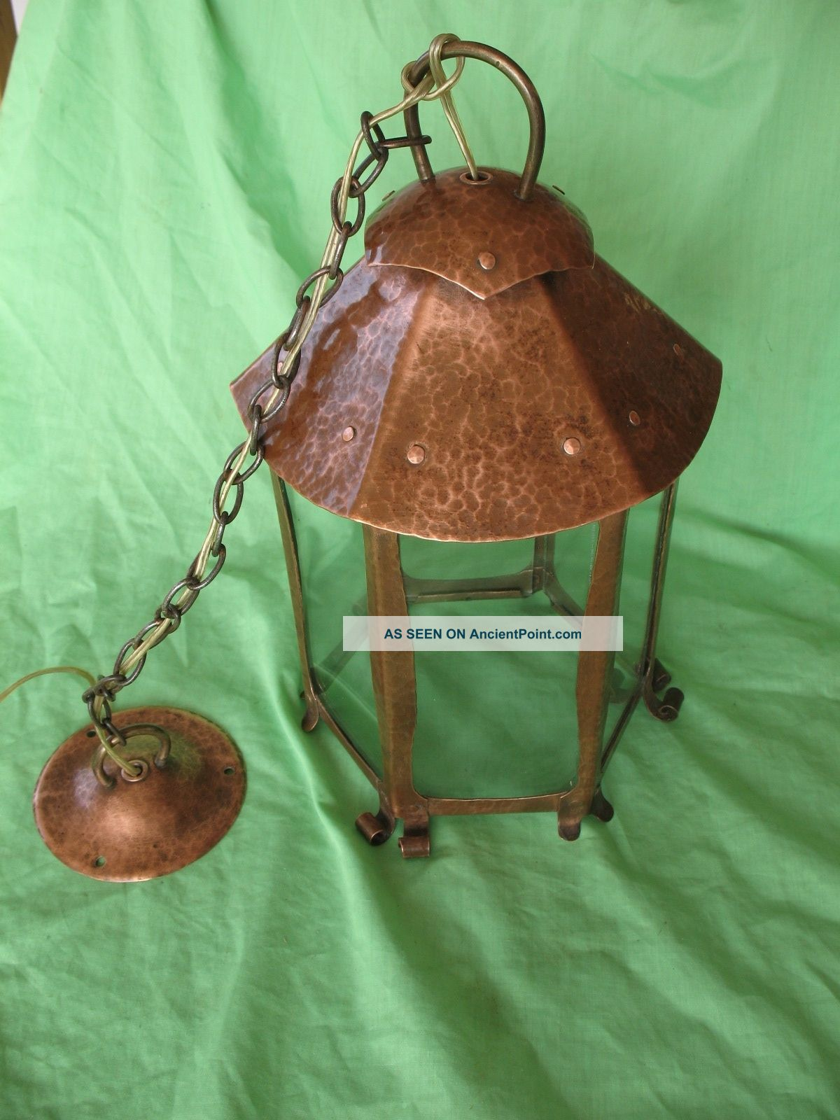 Old Antique Arts & Crafts Period Hand Made Planished Copper Ceiling Light Lamp Edwardian (1901-1910) photo