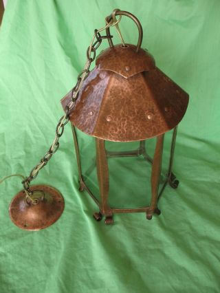 Old Antique Arts & Crafts Period Hand Made Planished Copper Ceiling Light Lamp photo