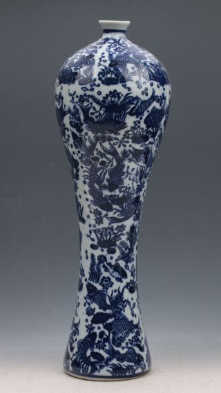 Chinese Blue And White Porcelain Hand - Painted Fish Vase W Qianlong Mark G045 photo