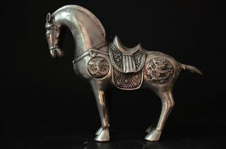 Delicate Chinese Silver Copper Handwork Carved Horse Statue photo