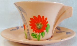 Vint Damask Rose Clarice Cliff Hand Painted Port Potter England Cup & Saucer photo