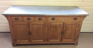 Antique Country Store Counter W/galv Top | Kitchen Island | Bar | Wine Table photo