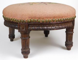 Antique Hand Carved Round 1880s Stool,  Needlepoint Seat Victorian Indiana Estate photo