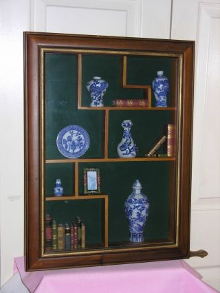 Vintage Inclosed Wooden Display Glass Case With 8 Shelf Spots 23 3/4
