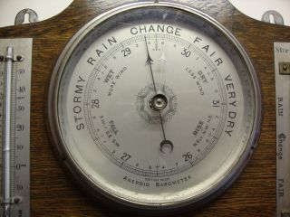 Early 20th Century Oak Mounted Barometer,  Thermometer & Storm Glass. photo