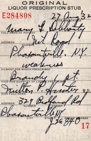 Prohibition Brandy Weakness Prescription Doctor ' S Stub Antique York 1932 Bar photo