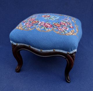 Antique Victorian Flowers Needlepoint Foot Stool Carved Wood photo