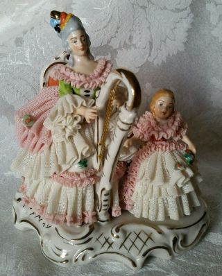 Vintage Dresden Lace Figurine Lady And Child Harp Player photo