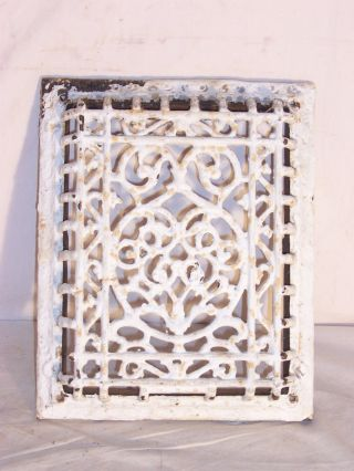 Antique Heat Grate Vent Register12x10 Carved Look Front Repurpose Industrial photo