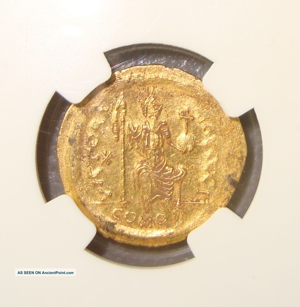 Ad 565 - 578 Justin Ii Ancient Byzantine Gold Solidus Ngc Ms 4/5 3/5 Byzantine photo