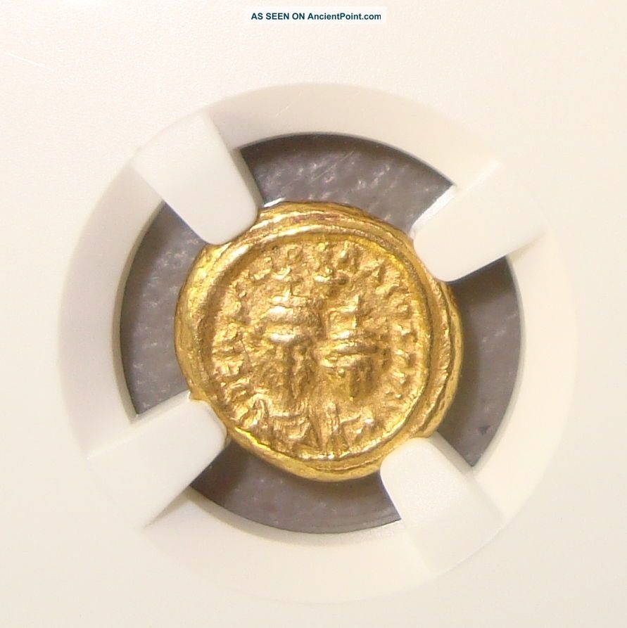 Ad 613 - 641 Heraclius & Her.  Constantine Ancient Byzantine Gold Solidus Ngc Xf Byzantine photo