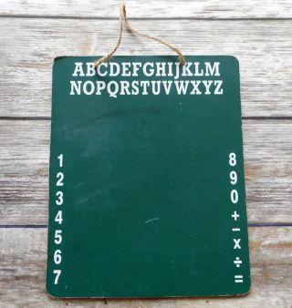 Primitive Chalkboard School Room Alphabet Vintage Hanging Prim Home Decor Green photo