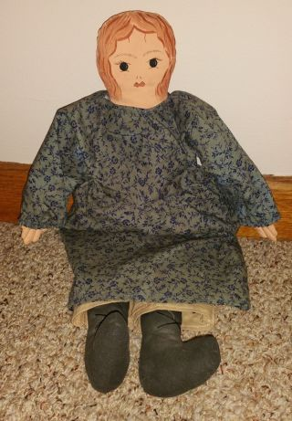 Primitive Country Simple Prairie Doll With Blue Calico Dress Handmade photo