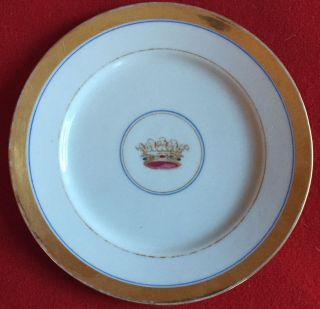 Antique 19th C.  Old Paris Porcelain Plate Crown Gold & White Royal Coronet 1 photo