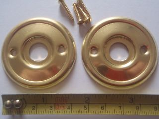 2 Replacement Brass Door Knob Back Plates / Roses 47 Mm Diameter Rim Lock Etc. photo