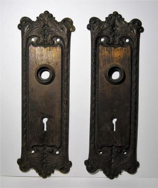 2 Antique Cast Iron Door Knob Face Plates Doorplates Vtg Door Hardware 2