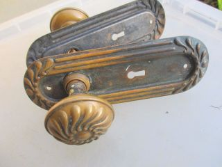 Victorian Bronze Brass Door Knobs Handle Shall Architectural Antique Old Reeded photo
