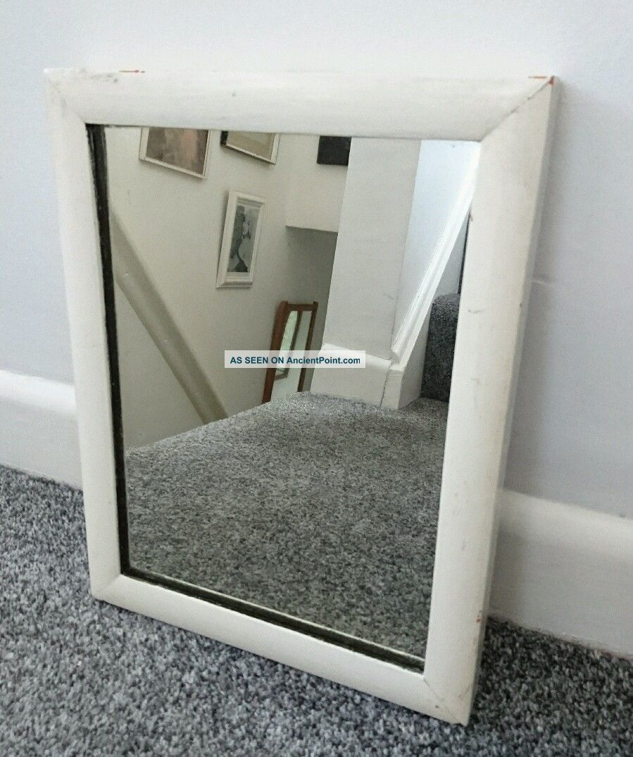 Painted Small White Chippy Old Wall Mirror Shabby Chic Rectangular Old 20th Century photo
