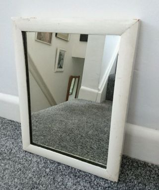 Painted Small White Chippy Old Wall Mirror Shabby Chic Rectangular Old photo