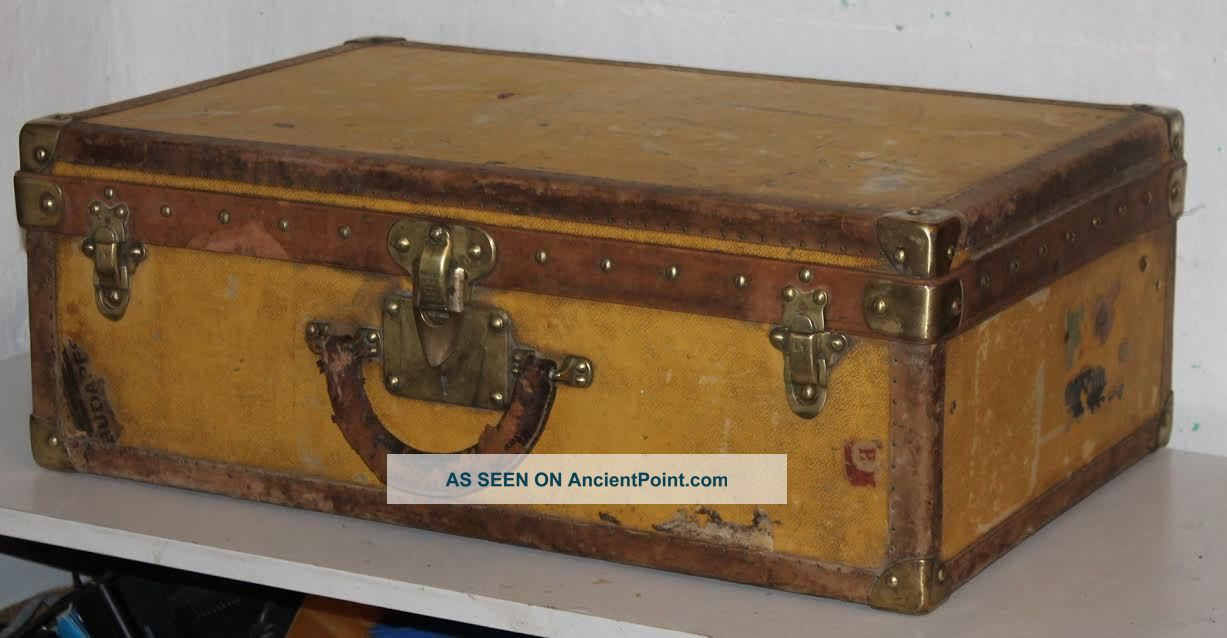 Antique Louis Vuitton Trunk Suitcase,  Brass Locks 19th Century 1800-1899 photo