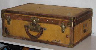 Antique Louis Vuitton Trunk Suitcase,  Brass Locks 19th Century photo