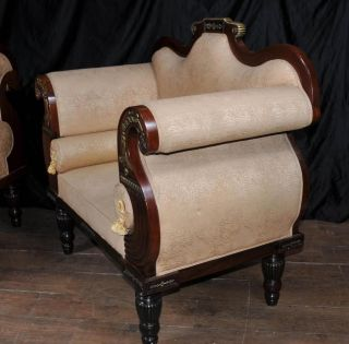 Pair Antique Thomas Hope Settee Seats Mahogany Parcel Gilt Chairs Couch photo
