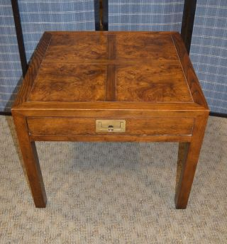 Vintage Henredon Campaign Style Table W/drawer photo