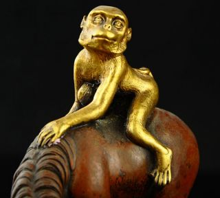 Chinese Fengshui Pure Bronze 24k Gold Gild Monkey Ride Horse Success Statue photo