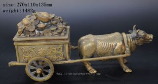 Folk Culture Chinese Old Brass Bull Ox Cattle Pull Carts Wealth Treasure Statue photo