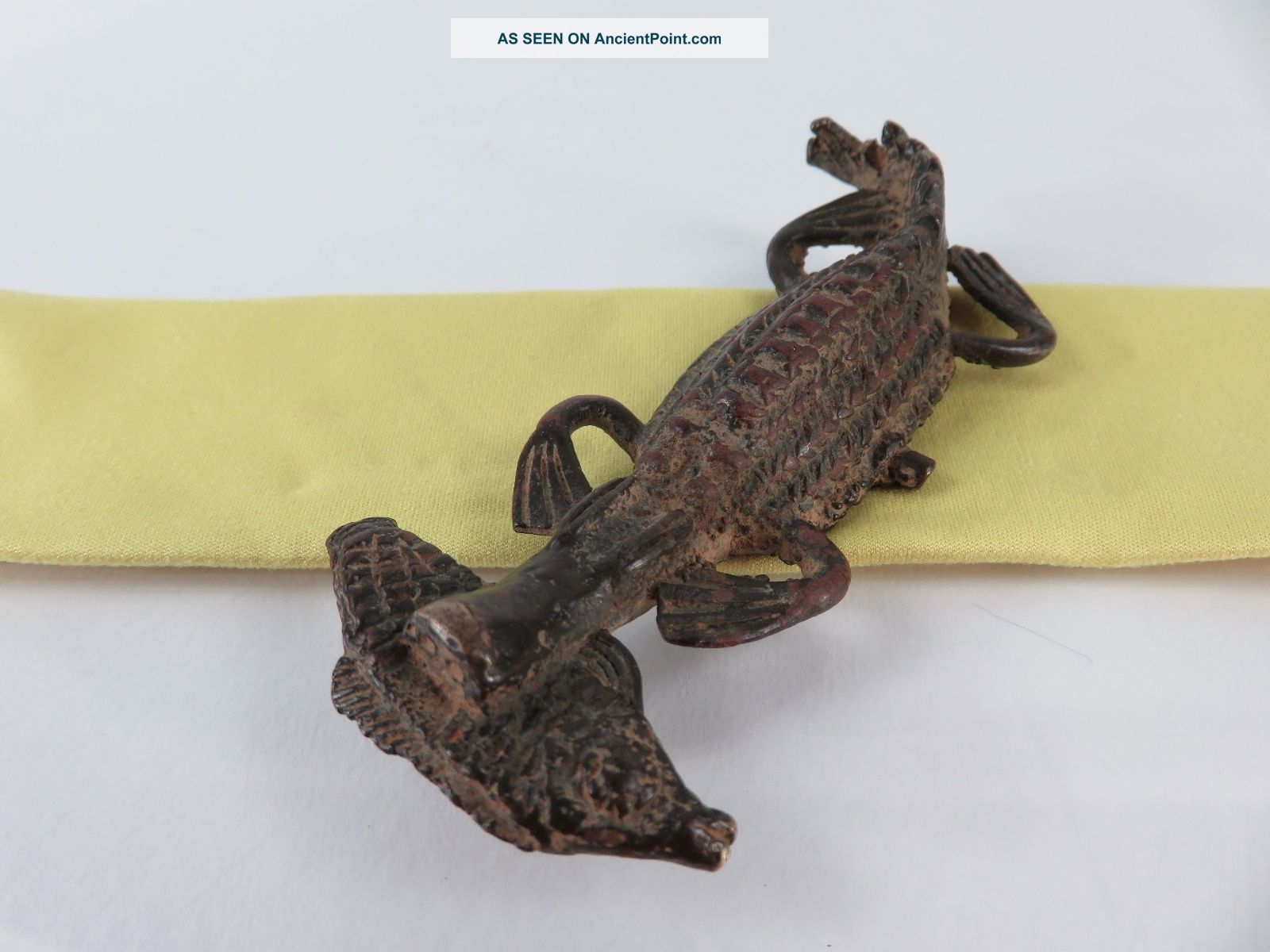 Antiquity African Congo Cast Bronze Hungry Crocodile Doomed Fish Sculpture Sculptures & Statues photo