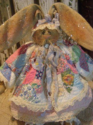 Primitive Bunny Rabbit Doll Antique Quilt,  Old Photo Folk Art Bunny Rabbit Doll photo