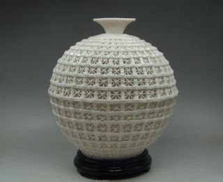 Collectibles Elegant Decorated Handwork Porcelain Carving Hollow Out Vase photo