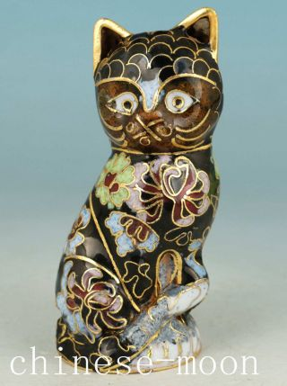 Lucky Chinese Old Cloisonne Handmade Painting Cat Statue Figure Ornament photo