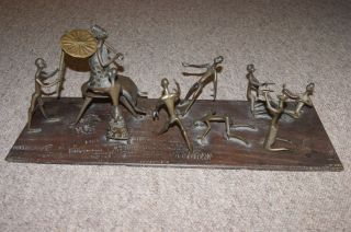 Antique Ashanti African Tribal Scene - Bronze Figures On Wood Base photo