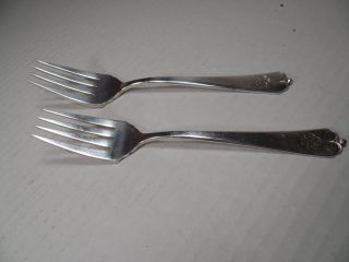 2 - Vintage,  Sterling Silver,  Salad Forks,  By Watson Co. ,  In The Lotus Pattern photo