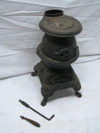 Antique Spark Salesman Sample Cast Iron Pot Belly Wood Cook Stove Toy Mount Joy photo