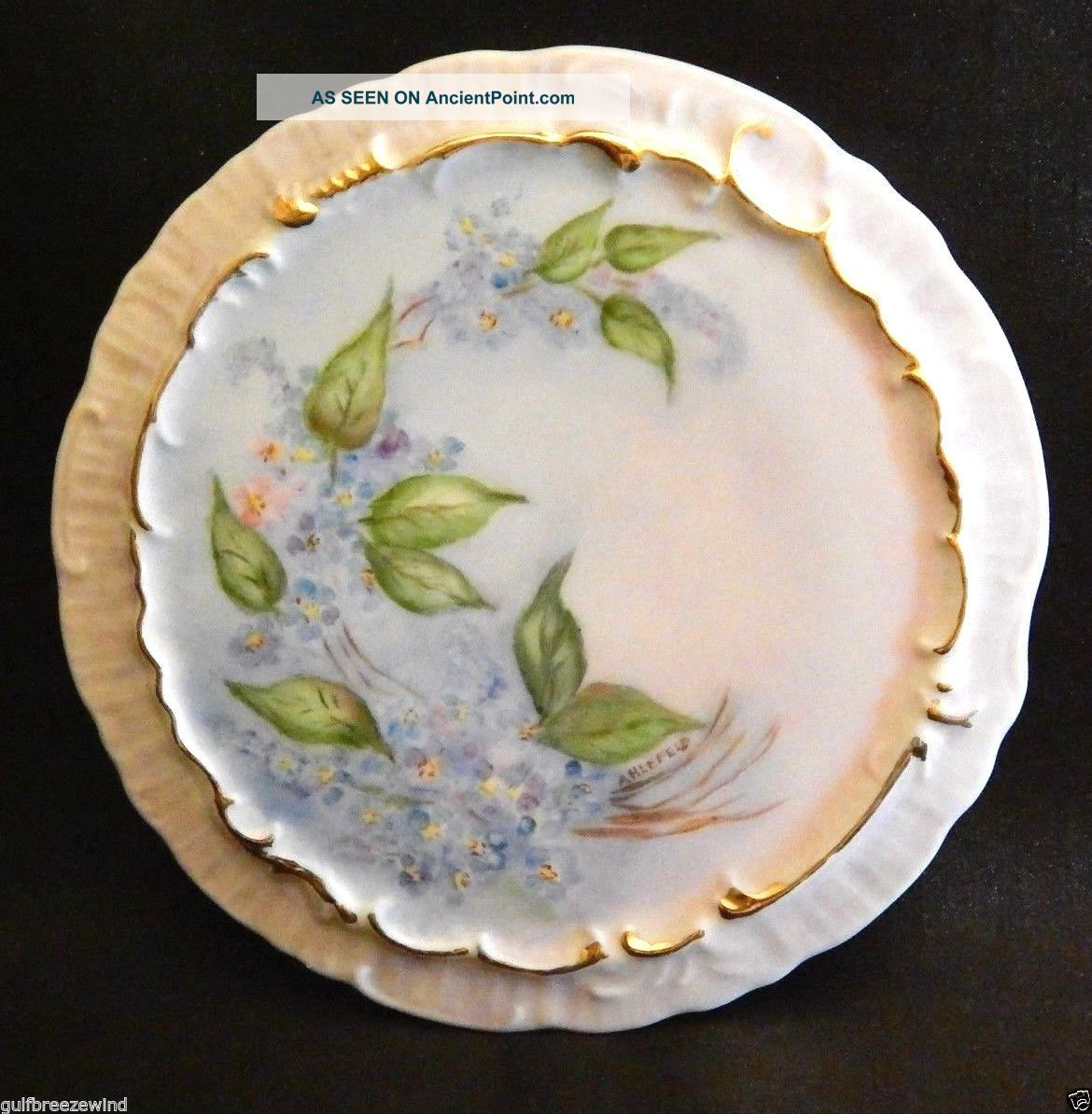 Porcelain Teapot Trivet Hand Painted Floral - Signed Ahlefeld,  Blue Floral Trivets photo