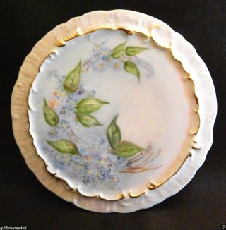 Porcelain Teapot Trivet Hand Painted Floral - Signed Ahlefeld,  Blue Floral photo