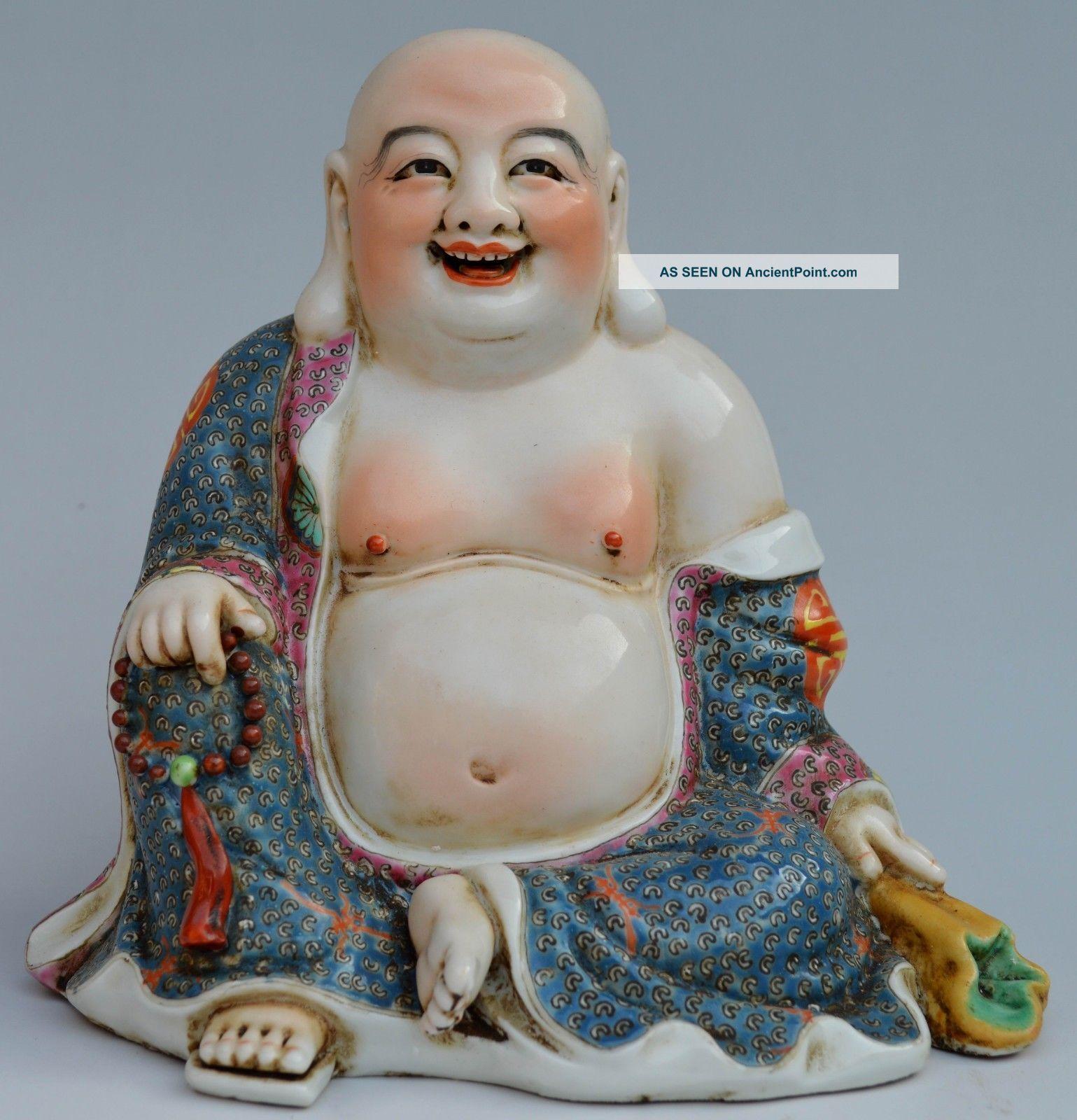 20c Colour Enamels Porcelain Drawing Flower Smile Buddha Statue Buddha photo