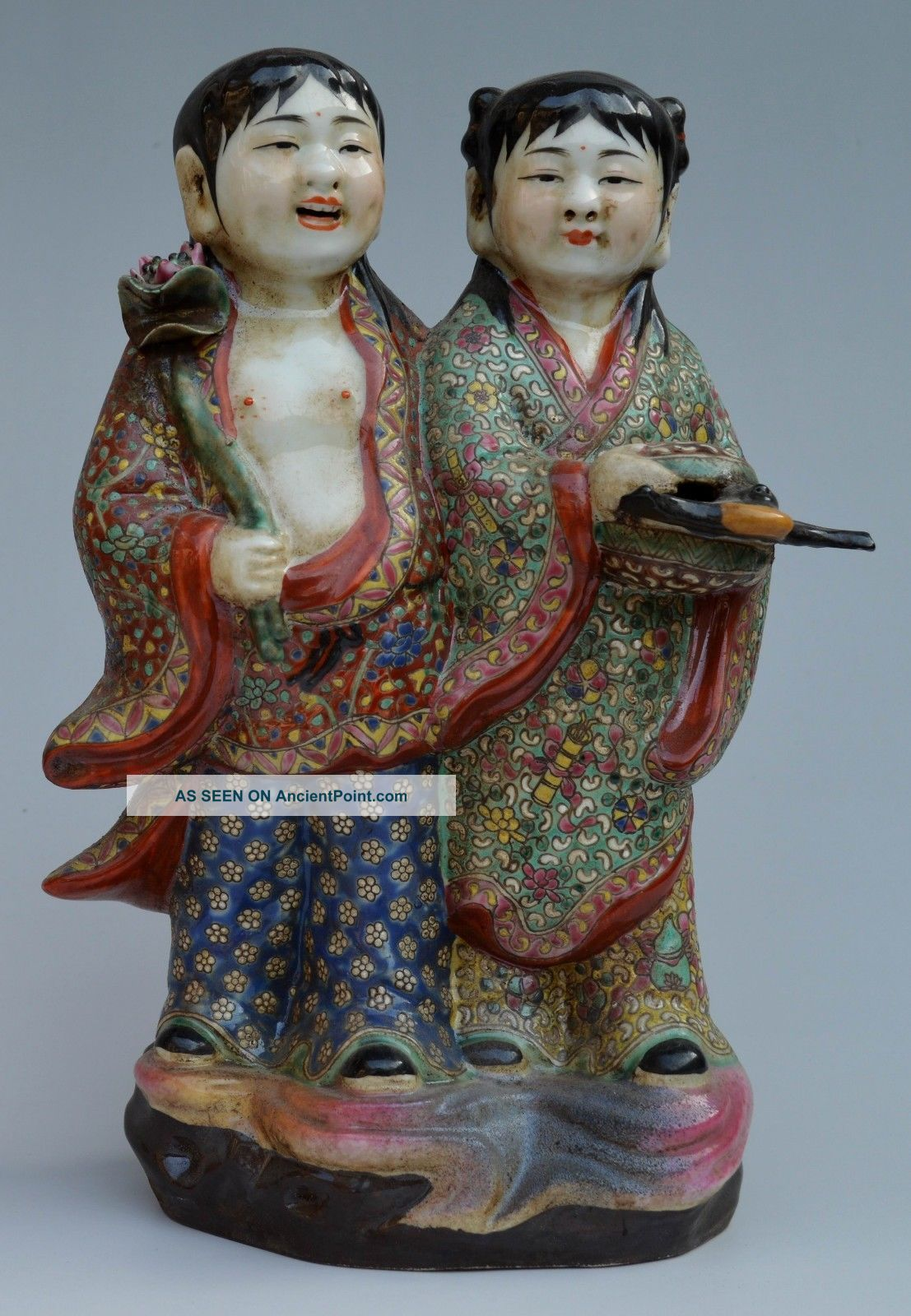 20c Colour Enamels Porcelain Drawing Flower Gods Of He - He Lotus Statue Buddha photo