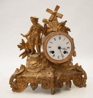 Antique 1855 French Clock Gracieus Statue Romantic photo
