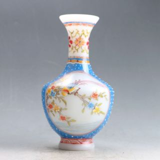 Old Beijing Colored Glaze Hand - Painted Bird & Flower Vase W Qianlong Mark Py0215 photo