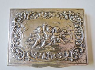 Antique Circa 1900 ' S 830 (83) Silver Cigarette Case Cherubs 104 Grams photo
