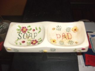 Soap And Pad Holder With Flowers On Dish Very Old Rare photo