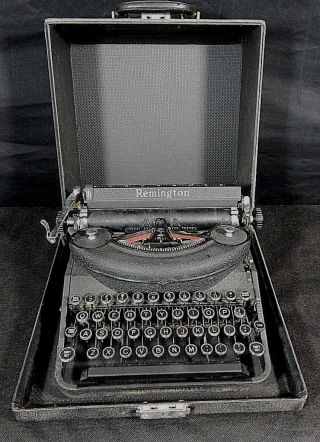 Remington Typewriter Deluxe Noiseless W/ Case 100 Vintage Glass Key photo