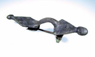 Saxon Era Radiate - Headed Bronze Bow Type Brooch/fibula - Ancient Artifact - B703 photo